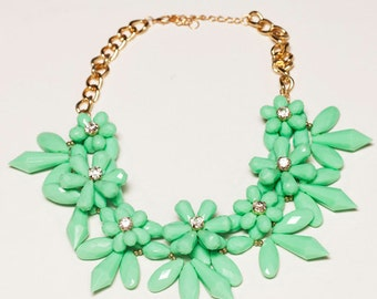 Mint Green Chunky Flower Bib Statement Necklace