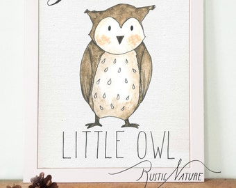 Woodland Little Owl Wall Art Print. Woodland Wall Art Nursery. Owl Nursery Decor. Woodland Creatures. Baby Shower. Nurserry Deco.