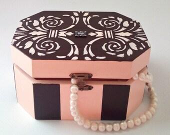 Gift box, wooden box, jewelry box, decoupage, romantic box