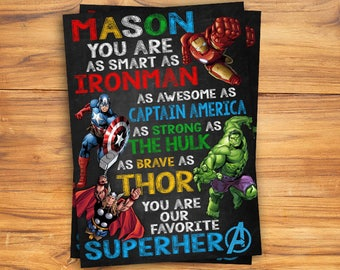 Personalized Chalkboard/ Father's Day Card/Daddy is My Superhero Sign/Superhero Chalkboard Poster/Superhero Avenger Birthday/Chalkboard Sign