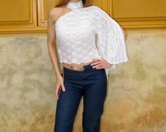 Womans blouse / white shirt / fabric point /Blusa grip Neck / Top cut diagonally with a sleeve / Dsenada Original /Moda/Antofilidesign