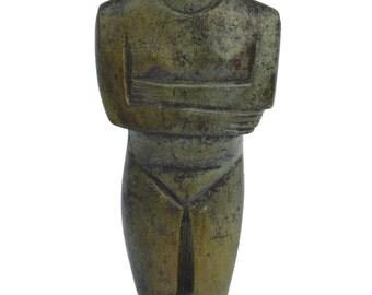 Cycladic figurine ancient Greek bronze broken leg reproduction sculpture