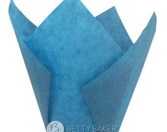 Blue Tulip Muffin Wraps - Great Alternative to Cupcake Cases - Birthday - Fathers Day. Pack of 24.