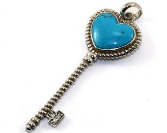 Vintage Turquoise Heart Shape Secret Key Pendant 925 Sterling Silver PD 643