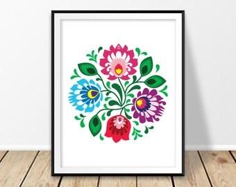 Instant download poster, Printable flowers, Floral print art, Colorful prints, Large digital prints, Folk flowers, Poland, Polish, mandala