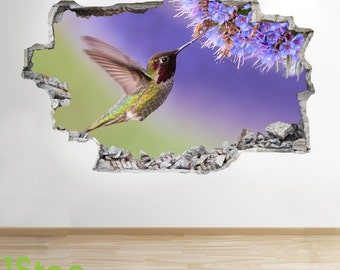 Bird Flower Wall Sticker 3d Look - Bedroom Lounge Nature Animal Wall Decal Z103