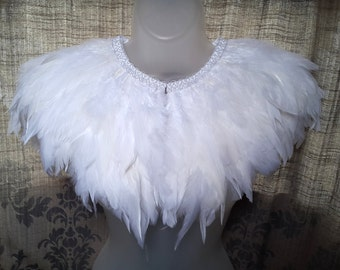 White feather wedding cape of premium coque feathers. Luxe bridal capelet.