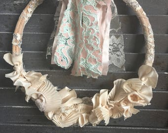 "8"" Shabby/Sweet Hoop Wreath- Cream & Pastel"