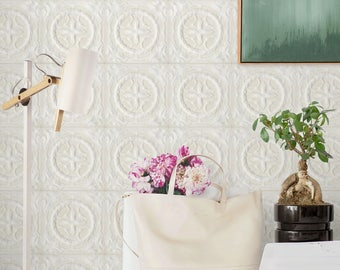 Victorian Tile Wallpaper, Victorian Wallpaper, 3D Tiles Pattern, Glazed Tiles Self Adhesive Wall Paper, VIctorian Mural