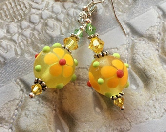 Yellow Flower/Floral Earrings, Lampwork Jewelry, SRA  Lampwork Earrings, SRA Lampwork Jewelry, Gift, Mothers Day, Gift For Her