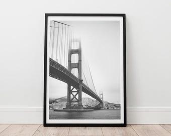 Golden Gate Bridge, San Francisco Print, Digital Download, Black And White Photography, Minimalist Decor, Office Print, Bridge Photography