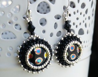 Black and Silver Bead Embroidered Earrings