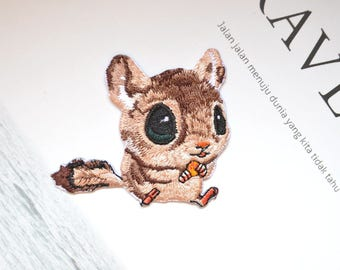 Lovely squirrel patch , squirrel iron-on patch ,cartoon squirrel embroidered patch