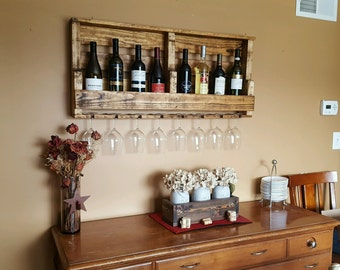 Reclaimed timber Wine Rack holds up to 10 bottles and 8 glasses pallet wine rack