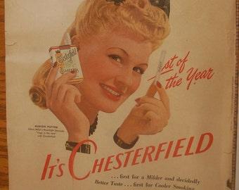 1942 Chesterfield Cigarettes Magazine Ad, Vintage smoking room wall decor