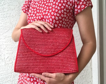 Red Straw Clutch Crossbody Bag