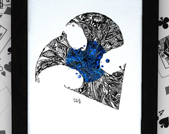 Original Pen and Ink Abstract Drawing Art Blue Illustration