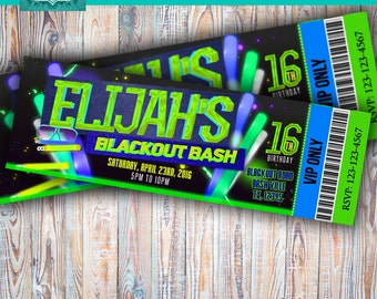 Neon printable personalized digital invitation,neon and glow ticketmaster,neon party, neon birthay, glow party,glow birthday,invite, party