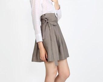 Skirt in linen color gray Modern Hanbok