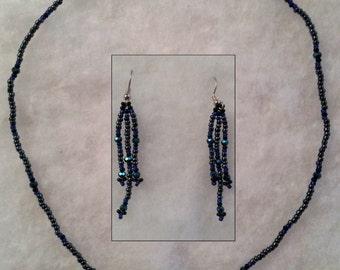 Handmade Beaded Flower Necklace and Dangle Earrings