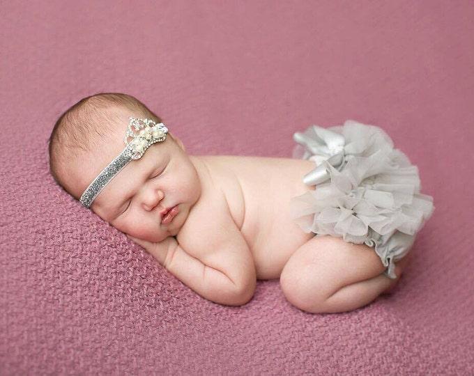 SALE! Baby Girls 2 pcs set, silver crown headband & bloomers, newborn photo prop, ruffled bloomers, baby headband, gray bloomers, gray tutu