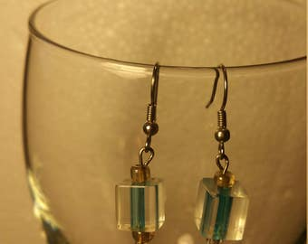 Aqua blue square earrings
