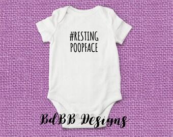 Resting Poop Face Funny Baby Onesie / Take Home Outfit / Coming Home Outfit / Bringing Home Baby / New Dad Gift / Funny Onesie
