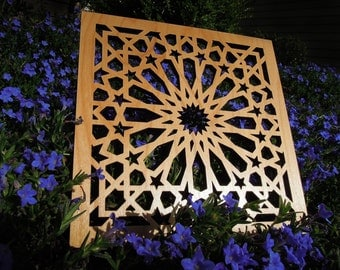 Alhambra Geometric Laser Cut Hardwood Window Screen