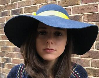 Wide Brim Dark Blue Hat, Floppy Hat, 70's Hat, Handmade Hat, Boho Hippie Hat, Various Colours