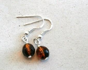 Brown Swarovski Crystal Beaded Earrings, Minimalist, Dangle Earrings, Silver Earrings, Everyday Crystal Drop Earrings