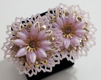 What a Unique Find!!!  Coro Clip Earrings Featuring Molded Plastic, Gold Tone Metal & Rhinestones!