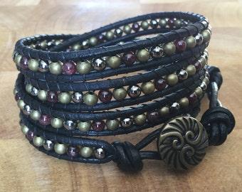Garnet and leather wrap bracelet