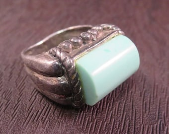 Vintage Old Pawn Sterling Silver Turquoise Ring Size 5 1/2 Southwest Navajo Natural Patina Look