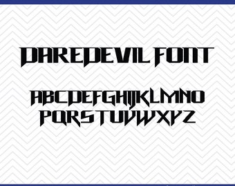 Daredevil Font (SVG, EPS, PNG, dfx) Cut Files for use with Silhouette, Cricut, & other Cutting Machines