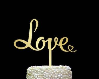Love cake topper, wedding cake topper, gold wedding cake topper, cake topper silver, wood cake topper, cake topper love, custom sign, CT#093