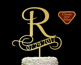 Letter R, Cake Topper Wedding Name Gold,  Wedding Cake Topper date,  Letter Monogram in Gold Color or Custom, Initial Cake Topper r, CT#019