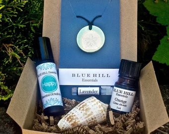 Relax Gift Set/Essential Oil Set/Diffuser Pendant, Roll-On Blend, Pure Essential Oil/Free Shipping