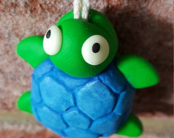 Blue and Green Turtle Light Pull with Glow in the dark Eyes