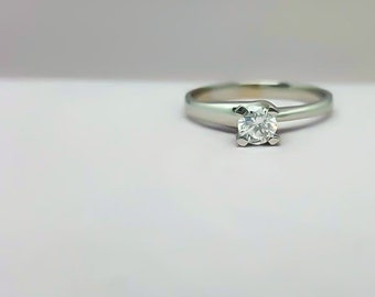 Sterling silver engagement ring - Engagement ring -  Zircon ring - Zircon engagement ring - Promise ring - Solitaire ring