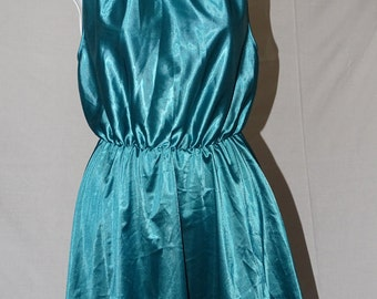 Vintage green/ turquoise  short shift / slip dress from 1990's