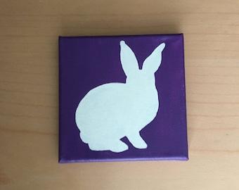 Hand painted white rabbit silhouette 6x6