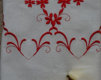 Embroidered open hearts Valentines Day kitchen towel.