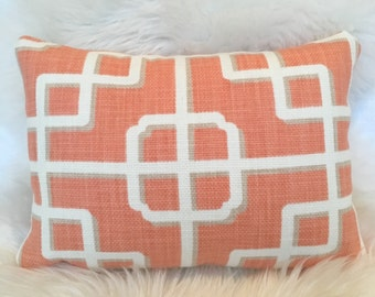 10x14 White & Orange Throw Pillow in Asian-Inspired Pattern w/ Brass Zipper - lumbar pillow