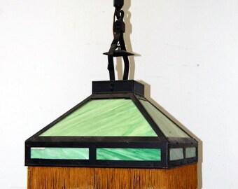 Antique Original Stained Glass Light Fixture, Vintage Lighting