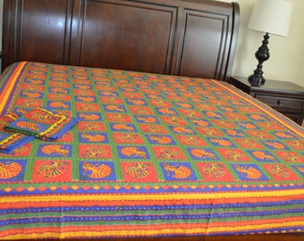 Free shipping on Queen multi color kantha work jaipuri bed sheet