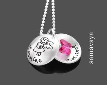 Necklace for kids enchanted Butterfly 925 Silver name necklace with engraving