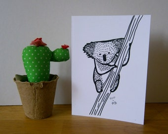 Koala on a tree. Blank greeting card, ideal for every ocassion.