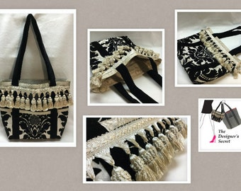 beautiful black velvet damask bag