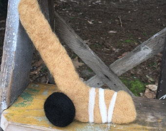 Felted Hockey Stick and Puck Newborn Prop