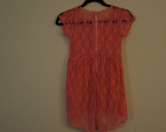 Girls lace dress,coral.sheer lace, floral overlay dress, girls size 5, white pants, dress and pants set, spring outfit,lace dress, pink lace